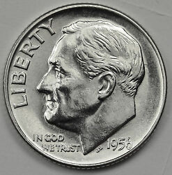 1956-d Roosevelt Dime. Fully Separated Horizontal Torch Lines. Bu Inv. F