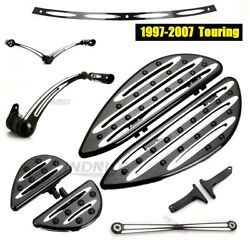 Black Cnc Cut Floorboards Brake Shift Linkage Levers For Harley Touring 2006