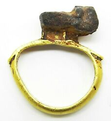 1st - 3rd Century Ad Ancient Roman Gold Key Ring For A Jewellery Casket Rare