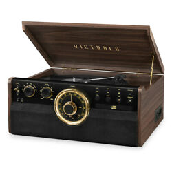Victrola 7-in-1 Wood Empire Bluetooth Record Player With 3-speed Turntable, Cd,