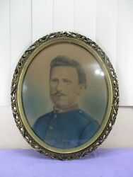 Antique Civil War Union Army Soldier Eighth Corps Colorized Portrait Oval Frame