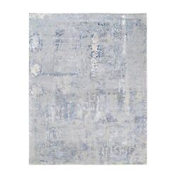8and0391x10and0393 Wool And Silk Gray Abstract Design Modern Hand Knotted Rug R62414