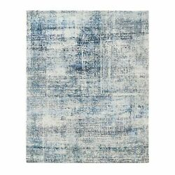 8and039x9and03910 Black And Blue Abstract Design Modern Wool And Silk Hand Knotted Rug R62416