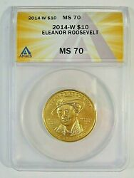 Bu Perfect Gem 2014-w First Spouse Gold 10 Eleanor Roosevelt Anacs Ms70