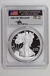 Proof Silver Eagle 2019 Pcgs Pr-70 Dcam First Strike Mercanti Flag