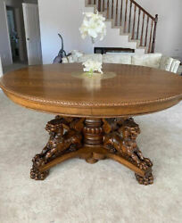 Antique 60andprime Round Oak Dining Table Andndash Carved Lions Large Claws - Plus Leaves