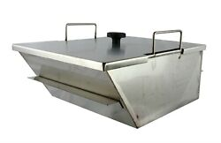 Bbq Grill Cart Drop-in Side Pan Angled Slanted With Lid Welded Stainless Steel