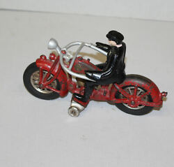Antique Hubley Red Cast Iron With Rubber Wheels Motorcycle Toy Andndash 2 Cylinder