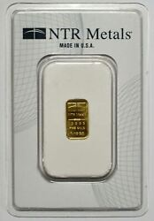 1/10 Troy Ounce .9999 Fine Gold Bar Ntr Metals Scs Certified