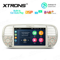 For Fiat 500 2007-2015 7 Android 10 Dsp Car Gps Stereo Radio 4-core 2+32g Beige
