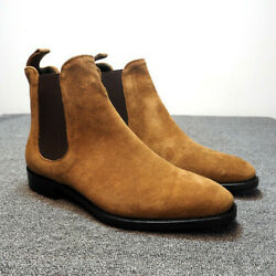 Menand039s Suede Ankle Chelsea Boots Retro Dress Formal Casual Elegant High Top Shoes