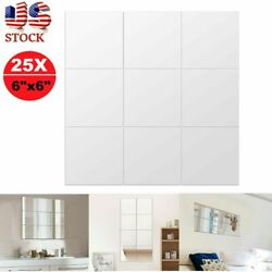 25pcs Self Adhesive Mirror Tile Wall Sticker Decal Room Home Decoration