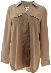 Denim And Co Roll Tab Slv Button Front Soft Utility Tunic Mocha 1x New A227885