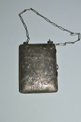 Antique Ladies Sterling Silver Bag Compact Purse Coin Holder Marked Ep 160.4 Gr