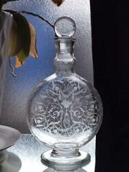 Old Baccarat Michelangelo Carafe Decanter Acid Etching Antique Ship From Japan