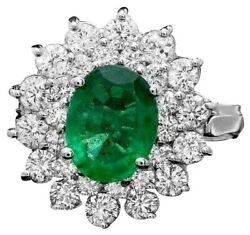 3.30ct Natural Emerald And Diamond 14k Solid White Gold Ring