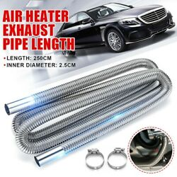 2.5m Silver Stainless Steel Exhaust Pipes Air Heater Tank Diesel Gas Hose Clamp