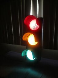 Vintage Traffic Signal Stop And Go Light Metal Case And Shades Glass Lenses Working