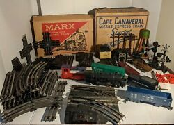 1950and039s Marx And Co Train Set Lot Steam Type Electric And Cape Canaveral Missile Exp