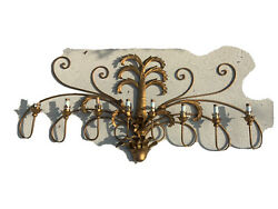 Vtg 60'' Hollywood Regency Italy Gold / Gilt Tole Metal 8 Light Wall Sconce Palm