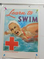 16 X 22 1979 Original American Red Cross Poster Learn To Swim By Holmgren