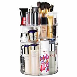 360 Degree Rotation Makeup Organizer Adjustable Multi Function Cosmetic Clear $33.44