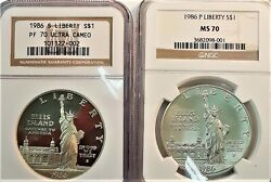 Two 1986 S Liberty Ngc Dollar Pf70 Ultra Cameo Proof And 1986 P Liberty Ms70