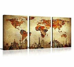 General World Map Wall Art Abstract Vintage Wonders Of The World Landmark For