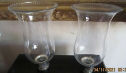 Pair Of Antique Hand Blown Glass Hurricane Candle Lamp /chimneys