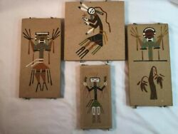 Lot Of 4 Navajo Sand Art Paintings Signatures Of Artists And Desc. On The Back