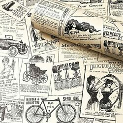 """Removable Peel and Stick Wallpaper Vintage 17.7"""" x 78.7"""" Newspaper"""