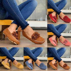 Women Slip On Flat Loafers Square Toe Casual Flower Pumps Moccasins Comfy Shoes