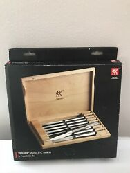 Zwilling J.a. Henckels 8 Piece Stainless Steel Steak Knife Set And Wooden Case New