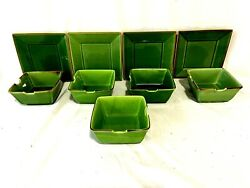 Pottery Barn Lot Of 9 Pieces Square Jade Green 4 Salad Plates 8 And 5 Notch Bowls