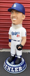 """Walker Buehler Dodgers Signed """"2020 Ws Champs"""" 3 Ft Bobblehead Beckett Bas Auth"""