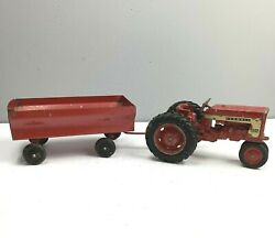 Vintage Ih Farmall 404 Tractor With Trailer Red Rims Metal Diecast Rolls Toy
