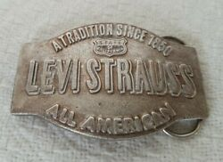 Vintage Pewter Levi Strauss All American Belt Buckle 2.25 Tall 3.25 Across