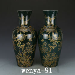 17.4 Old China Antique Qing Dynasty Kangxi Green Glaze Flower And Bird Bottle
