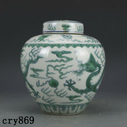 8.4 Old China Antique The Qing Dynasty Qianlong Green Color Dragon Pattern Pot