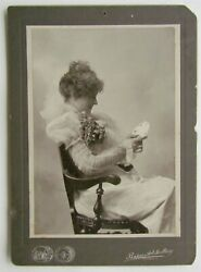 Lady W/ Playing Cards Antique Victorian Cabinet Photo