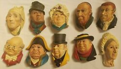 Lot Of 11 Charles Dickens Character Chalkware Heads By Bossons 1960's