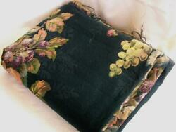 2 YD x 54 VTG Tapestry Upholstery Fabric Large Floral Rose Wine Peach Dark Green
