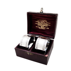 Pair Of Antique Victorian Sterling Silver Napkin Rings In Case 1900