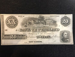 1800's 20 Bank Note Remainder Not Issued East Haddam Ct Us Obsolete Currency