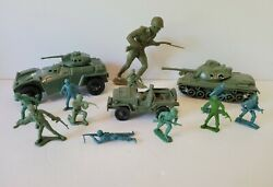 Vintage Military Toys Lot Mpc-auburn-processed Plastic Co Tank Army War Figures
