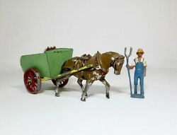 Lead Toy Soldier Figure Crescent Farmer With French Horse Drawn Cart
