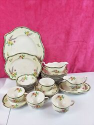 Antique Johnson Brothers China, 30 Pieces Ontwood Design