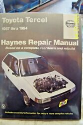 Haynes Manual 92085 Info.for Toyota Tercel 1987-1994 Book In Plastic Cover N/o/s