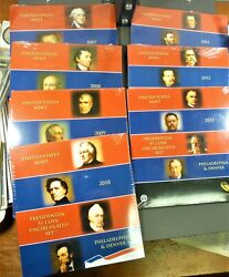 2007 - 2013 Us Mint Presidential Dollar Coins P And D Sets