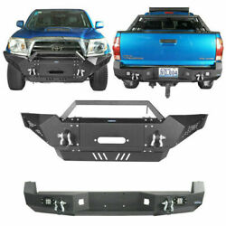 Full Width Front And Rear Bumper W/ D-rimgs Fit Toyota Tacoma 2005-2015 Black